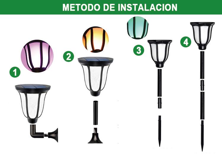 lámpara de llama solar led
