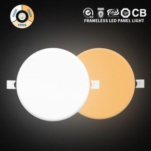 luz led sin marco 24w ip54 dimmable CCT ajustable montado en la superficie de la lámpara del panel del smd alrededor del techo incrustado